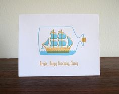 Ship in a Bottle Letterpress Birthday Card by luludee on Etsy #orange #letterpress #illustration #ship #blue