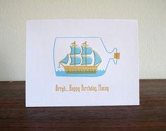 Ship in a Bottle Letterpress Birthday Card by luludee on Etsy