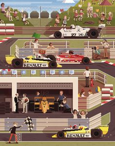 Octavi Navarro pixel paintings #illustration #f1 #pixels
