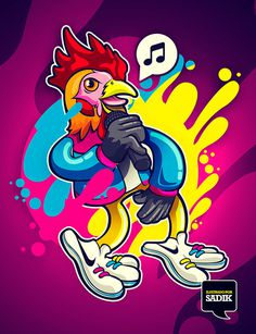 MC ROOSTER on Behance #rooster #vector #sadik #mexico #music #illustration #colors #cmyk #hop #hip