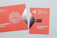 Logo and stationery with silver foil detail for the Norwegian Academy of Music designed by Neue