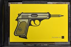 INSIDE JOB #allan #printmaking #gun #print #yellow #letterpress #houston #peters #pencil #workhorse #aiga