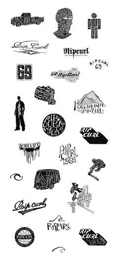 RIPCURL (textile design) 2000 / 2005 on the Behance Network #typography #logo #logotype #hand drawn #brand