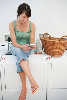 Woman in laundromat