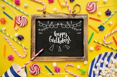 Birthday decoration with slate Free Psd. See more inspiration related to Mockup, Birthday, Happy birthday, Party, Anniversary, Celebration, Happy, Candy, Chalkboard, Mock up, Decoration, Decorative, Celebrate, Birthday party, Candy cane, Sweets, Festive, Up, Lollipop, Birth, Happy anniversary, Slate, Cane, Annual, Composition and Mock on Freepik.