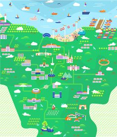 Jakarta Illustrated Map #jakarta #city #design #indonesia #illustration