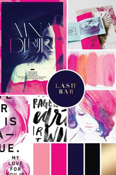 new-palette #styleboard #style #concept #board #collage #color #color palette #glamour #glitz #pink #navy #gold #black #hot pink #fuscia