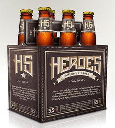 Heroes American Lager Packaging #packaging #beer