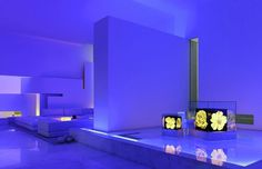Residencewith living room and blue lighting interior #interior #architecture #residence #futuristic