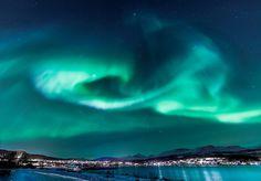 Aurora Borealis over Sørreisa, Norway. #green #borealis #blue #aurora