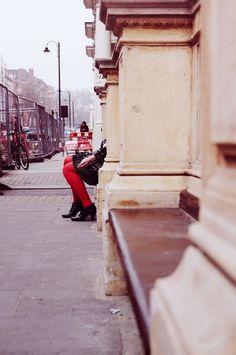 February in London #red #london #legs #digital #photography #street