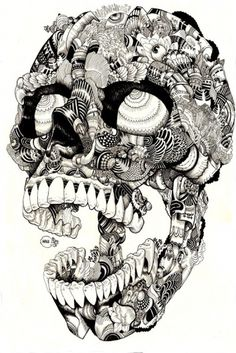 Skulltastic on the Behance Network #ink #white #lines #black #illustration #pen #skull #drawing