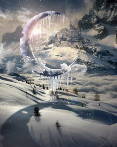 Magic Christmas. Fairy night with the crescent above the clouds. Moon craters 3D model. Fairy Christmas snoe and icy landscape. #clouds #christams #card #winter #snow #christmas #xmas #moon