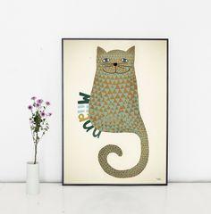 #nordic #design #graphic #illustration #danish #bright #simple #nordicliving #living #interior #kids #room #poster #paper #cat #miiauu
