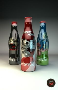 Disney Coke Bottles on the Behance Network #packaging
