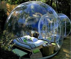 The untraditional crystal bubble tents provide a new unique and new camping experience!