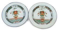 Pair of large porcelain plates with a multicoloured decoration of a vase of flowers in the mirror #porcelain