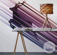 Leaping Deer #interior #deer #mural #design #decor #home #violet #wall