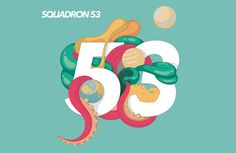 Squadron 53, by Fernando Rodríguez #inspiration #creative #abstract #53 #design #graphic #illustration #squadron #number #type #teal