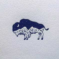 My bison mountain logo design