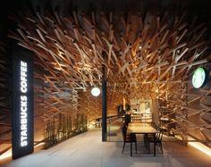 Weblog van Martijn Russchen • Ik heb al heel wat Starbucks zaken gezien, maar... #interior #wood #starbucks