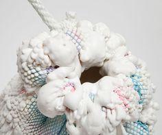 chen chen + kai williams: prototype 3 in house stool at design miami #sculpture #white #rope #art #pastel