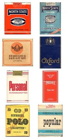 Cigarette packs from around the world #vintage #packaging