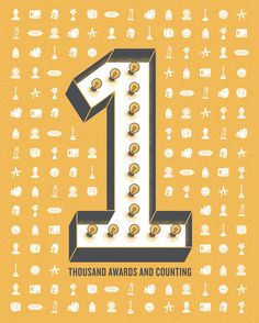 33. Over 1,000 Awards | GSD&M 40th Anniversary Poster Series #poster #typography #numbers #awards