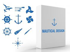 Nautical Vector Pack #ocean #vector #design #clean #illustration #sea #blue #anchor #nautical