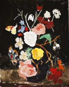 Wayne Pate - Still Life With Flowers & Moth By Bella Foster #bella foster