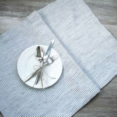 Pure Linen Table Runner - IPPINKA The Pure Linen Table Runner is a simple yet elegant runner made out of pure, natural linen. It comes in a modern design with black pinstripes. It helps create a nice, cozy environment while keeping your table clean. Handmade in Lithuania.