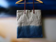 Ombre tote bag with leather handles  Misty Ocean Blue Organic dip dyed natural Indigo linen easy