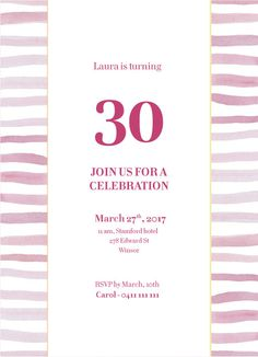 Pink Stripes Invite - Birthday Invitations #paperlust #birthday #invitation #birthdaycards #birthdayinvitation #design #digitalcards #foils