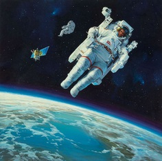 "moonzerotwo: ""Astronaut in Space - John Berkey """