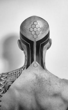 hexagon head tattoo #tattoo #head #blackwhite #hexagon