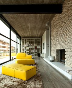 Giraldi Associati Architetti Design a Concrete House in Bologna - #livingroom, #decor, #interior, home, living room