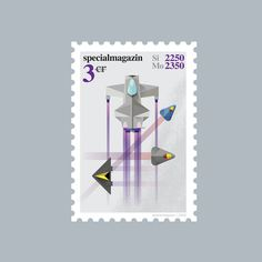 Space stamp Anni 1 #stamp #specialmagazin #space #spaceship #illustration #postal #future