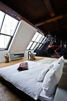 minimalistisch. #interior #lamp #loft #bedroom #home #bed