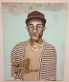 """Pharrell\"" 24\"" x 30\"" Acrylic and Vintage NY TImes Newspaper on canvas."