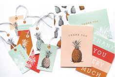 pineapple cards #tropical #you #stationary #card #thank #tags #pineapple