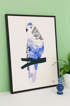 #nordic #design #graphic #illustration #danish #bright #simple #nordicliving #living #interior #kids #room #poster #bird #blue #feathers