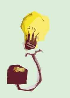 #illustration #lamp #yellow #green #design #squares