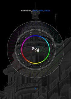 Dark 2016 calendar by Fabrice Vrigny http://fabricevrigny.com/calendrier-2016 #calendar #minimal #morocco #casablanca #circle #calendar