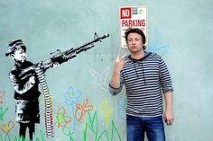 2 Troublemaking Brits in Westwood: Banksy & Jamie Oliver - LAist #jamie #banksy #oliver