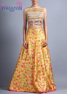 Vasansi Yellow Raw Silk Crop Set