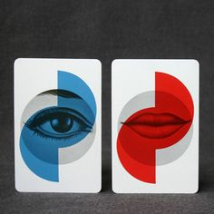 The lips and the eye. Vintage playing cards. #red #lips #eye #blue #overlay #cards