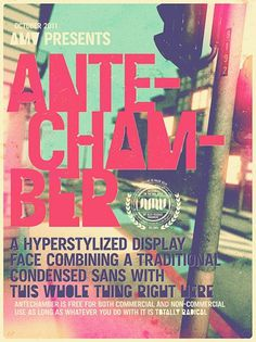 Antechamber (Free Typeface) on the Behance Network #font #design #graphic #poster