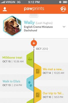 Pawprints provides a place for you to store special moments with your dog(s) and share them with your dog's friends.Created in 10 weeks w #timeline #social #design #interface #ui #iphone #app #puppy #pawprints #dog