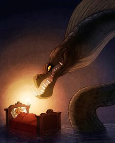 The Art Of Animation, Elsa Chang #nightmare #child #dream #serpent #snake #childhood #illustration #bed #eel