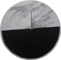 Marble Style Clock with Black Half Moon 34cm